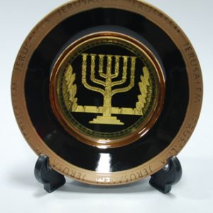 ceramic and gold plated menorah