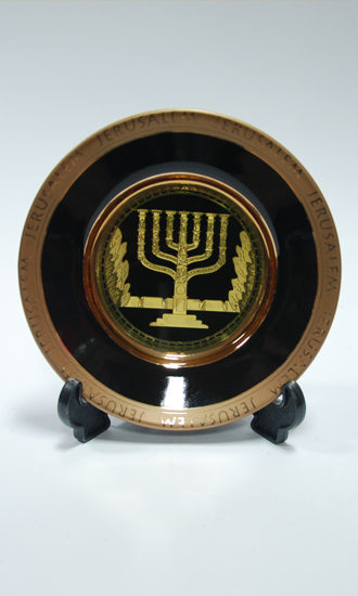 ceramic and gold plated menorah
