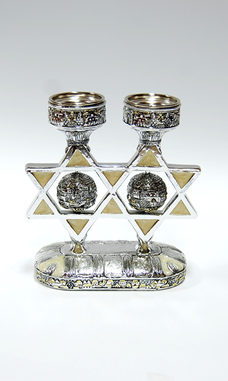 Candlestick with a ball in the form of ancient Jerusalem