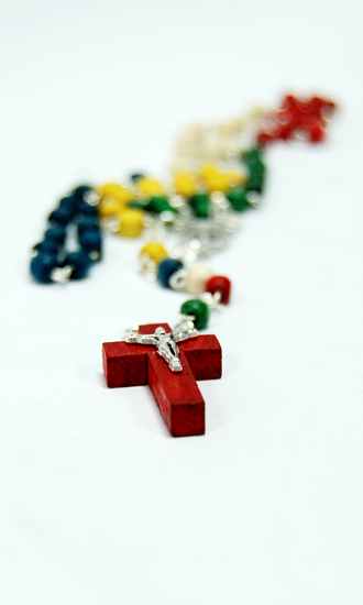 colored wood rosary