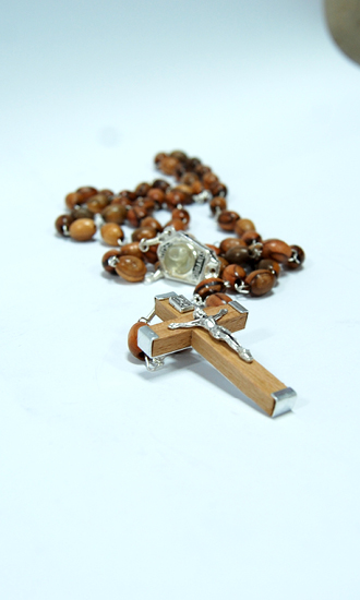 olive wood rosary with holy water from the Jordan river