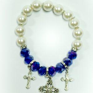 Bracelet With Crosses - Lapis Lazuli Color