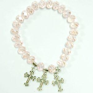 Bracelet With Crosses - Light Pink Color