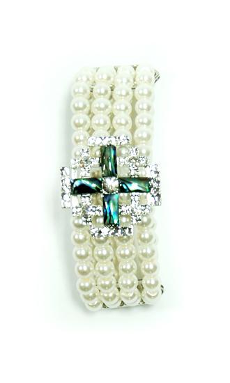 Bracelet - mother of pearl Jerusalem Cross
