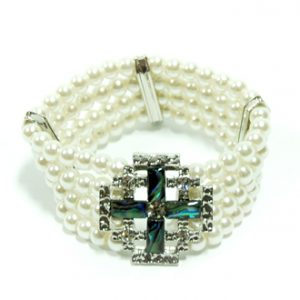 Bracelet - mother of pearl Jerusalem Cross