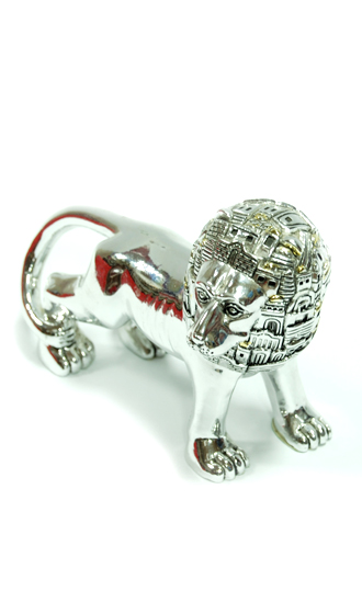 SILVER PLATED LION JERUSALEM HEAD