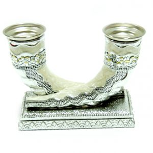 Two Shofars of silver plated