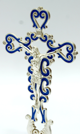 Silver Plated Cross Blue