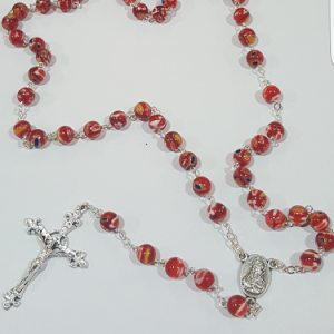 red murano glass rosary